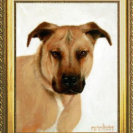 Michael Pickett Artwork Commissioned Pet Portrait, 2015 Acrylic Painting, Animals