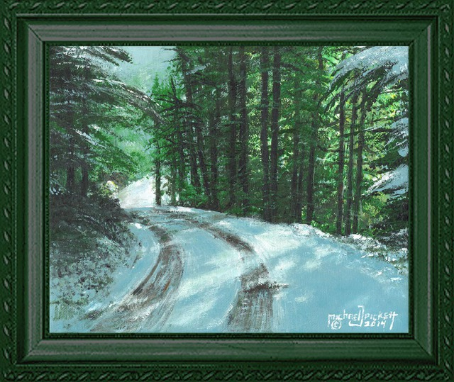 Michael Pickett: Country Road Snow Scene , 2014 Acrylic Painting
