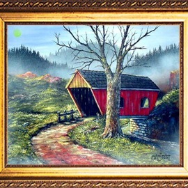 Michael Pickett Artwork Covered Bridge, 2005 Acrylic Painting, Landscape