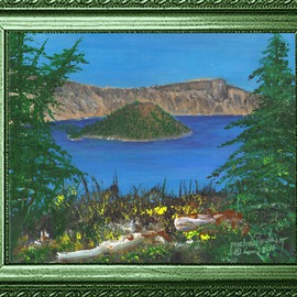 Michael Pickett: 'Crater Lake', 2016 Acrylic Painting, Landscape. Artist Description:       You can learn how to paint Crater Lake in acrylic, Go to pickettonline. com, click on ENTER, and on the top left corner click the You- Tube link.      ...
