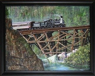 Michael Pickett Artwork Diamond And Dogtown, 2009 Acrylic Painting, Trains