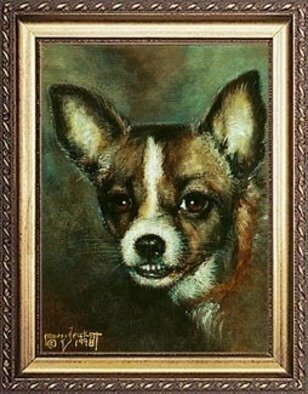 Animals Acrylic Painting by Michael Pickett Title: Dog, created in 1998