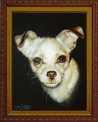 Animals Acrylic Painting by Michael Pickett titled: Dog, created in 1998