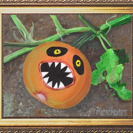 Michael Pickett: 'Evil Pumpkin', 2015 Acrylic Painting, Still Life. Artist Description:  You can learn how to paint an Evil Pumpkin in acrylic,Go to pickettonline. com, click on ENTER, and on the top left corner click the You- Tube link.   ...