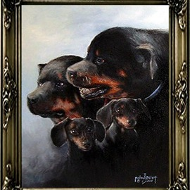 Michael Pickett Artwork Family, 2005 Acrylic Painting, Dogs