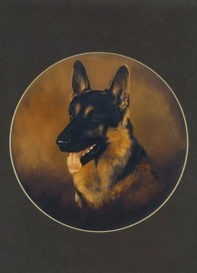 Animals Acrylic Painting by Michael Pickett Title: German  Shepard , created in 1987