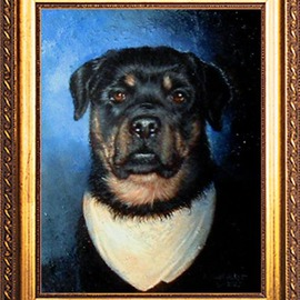 Michael Pickett: 'Guenther With His Tan Scarf', 2005 Acrylic Painting, Dogs. Artist Description:  Guenther was born 12- 25- 1997 and passed away in 2005. His ashes were mixed into the paint.  Guenther loved his scarf, it was like his security blanket. he wore it all the time....