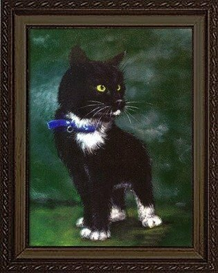 Animals Acrylic Painting by Michael Pickett titled: Imp Kitty, created in 2000