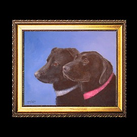Michael Pickett Artwork Kholby and Cheyenne, 2009 Acrylic Painting, Dogs