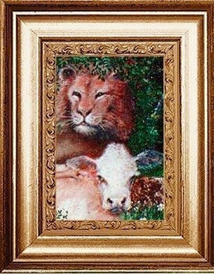 Animals Acrylic Painting by Michael Pickett Title: Lion And Cow, created in 1995