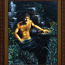 Michael Pickett: 'Man In Water', 1991 Acrylic Painting, Nudes. Artist Description: Studio painting for Paula Detmer Riggs,  Silhouette Moments, 1991. ...