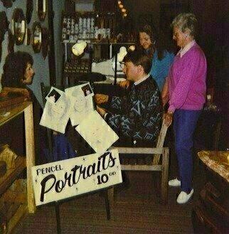 Michael Pickett Artwork Michael Doing Pencil Portraits, 1990 Michael Doing Pencil Portraits, Portrait