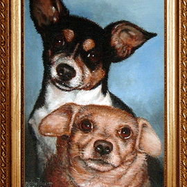 Michael Pickett Artwork Old Lovable Puppy Dogs, 2007 Acrylic Painting, Dogs