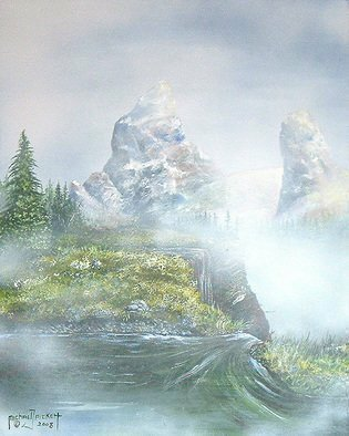 Michael Pickett: 'Paradise ', 2008 Acrylic Painting, Landscape.  This surreal landscape symbolizes a paradise high in the mountains where nothing really lives because of its high altitude.  ...