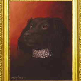 Michael Pickett Artwork Penny Old World Style, 2011 Acrylic Painting, Dogs