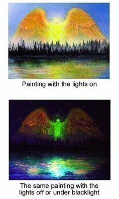 Michael Pickett: 'Princepelity Angel', 2006 Acrylic Painting, Inspirational.   This painting glows in the dark.  ...