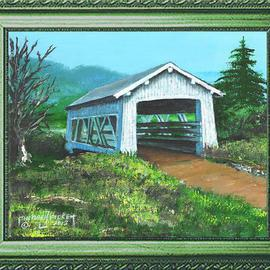Michael Pickett Artwork Sandy Creek 1921 Covered Bridge, 2012 Acrylic Painting, Landscape