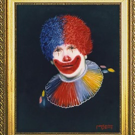 Michael Pickett: 'Self Portrait  As A Clown', 1992 Acrylic Painting, Portrait.
