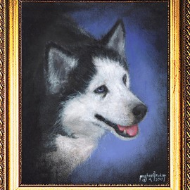 Michael Pickett Artwork Siberian Husky, Siska, 2010 Acrylic Painting, Dogs