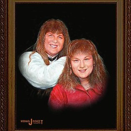 Michael Pickett Artwork Sisters, 2006 Acrylic Painting, Portrait
