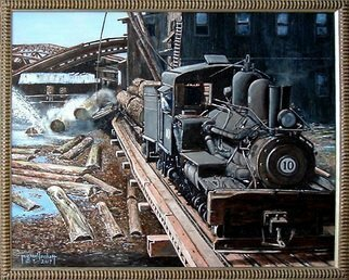 Michael Pickett Artwork The Mill, 2007 Acrylic Painting, Trains