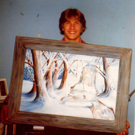 Michael Pickett: 'This is me when I was younger ', 1975 Oil Painting, Surrealism. Artist Description:  In 1975 I painted a surreal landscape to be sent to Minnesota.It was so long ago I can't remember the size or weight.  ...