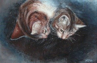 Cats Acrylic Painting by Michael Pickett Title: Two Cats Looking Down, created in 1997