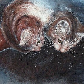 Michael Pickett Artwork Two Cats Looking Down, 1997 Acrylic Painting, Cats
