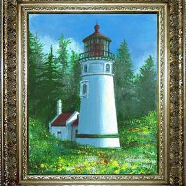 Michael Pickett: 'Umpqua River Lighthouse', 2013 Acrylic Painting, Landscape. Artist Description:      You can learn how to paint The Umpqua River Lighthouse. Go to pickettonline. com, click on ENTER, and on the top left corner click on the You- Tube link.   ...