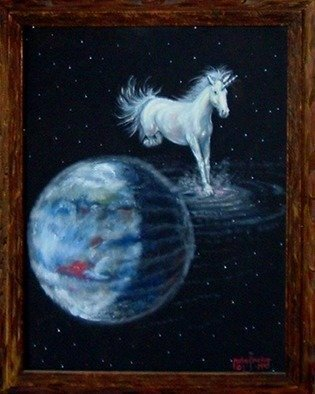 Michael Pickett: 'Unicorn', 1997 Acrylic Painting, Fantasy.  This painting is at the Applegate Arts Guild in Veneta Oregon, ( USA) I don't remember the size. 0. 0 ...