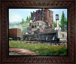 Michael Pickett Artwork Water Tower And Train, 2007 Acrylic Painting, Trains
