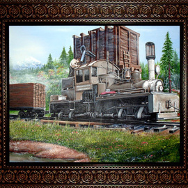 Michael Pickett: 'Water Tower And Train', 2007 Acrylic Painting, Trains.