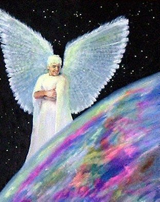 Michael Pickett: 'World Peace Angel', 2004 Acrylic Painting, Inspirational.  This Painting Glows in the dark. ...