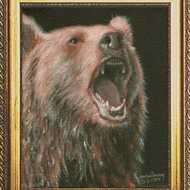 Michael Pickett: 'brown bear', 2017 Acrylic Painting, Animals. Artist Description: You can learn how to paint a painting of the Brown Bear. . . Get the reference photo and art lesson at pickettonline. com ...