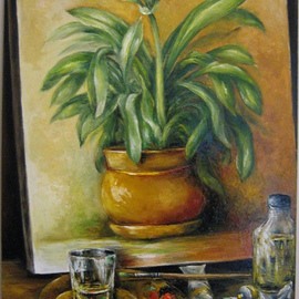 Nagy Alida: 'Clivia', 2014 Oil Painting, Floral. Artist Description:           Oil painting on canvas stretched on a wooden chassis.         ...