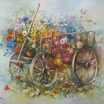 Oil painting Flower trolley By Nagy Alida
