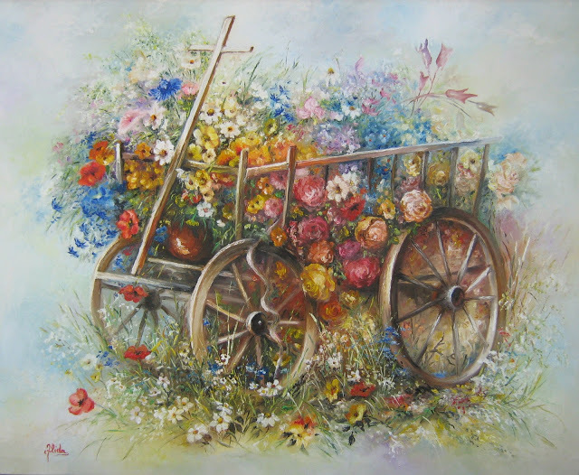 Nagy Alida  'Oil Painting Flower Trolley', created in 2013, Original Painting Oil.