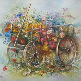 Nagy Alida: 'Oil painting Flower trolley', 2013 Oil Painting, Floral. Artist Description:       Oil painting on canvas stretched on a wooden chassis.     ...