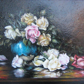 Nagy Alida: 'Oil painting Fresh picked', 2012 Oil Painting, Floral. Artist Description:     Oil painting on canvas stretched on a wooden chassis.A beautiful bouquet of roses that will delight home.   ...