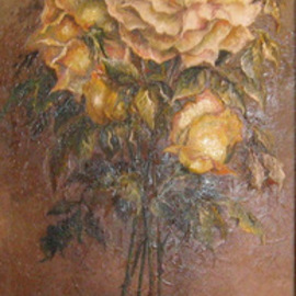Nagy Alida Artwork Painting in oil Bouquet of roses, 2007 Oil Painting, Floral