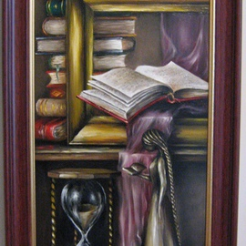 Nagy Alida: 'Passion for books', 2014 Oil Painting, Education. Artist Description:            Oil painting on canvas stretched on a wooden chassis. Frame not included.          ...