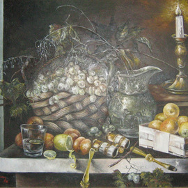 Nagy Alida: 'Still life oil painting', 1998 Oil Painting, Still Life. Artist Description:      Oil painting on canvas stretched on a wooden chassis.    ...