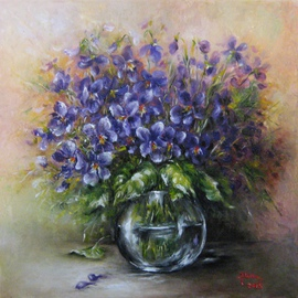 Nagy Alida: 'Violets', 2015 Oil Painting, Floral. Artist Description:             Oil painting on canvas stretched on a wooden chassis.           ...