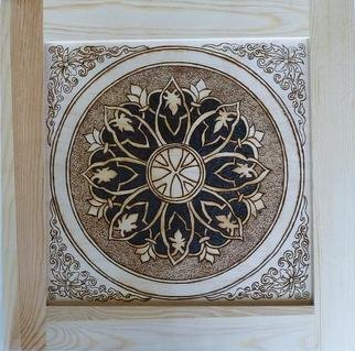 Shannon Ivins: 'Antique Asian Style Framed Pyrographic Original Wood Panel by Pigatopia', 2011 Woodworking Art, Meditation.  pyrography, wood, pine, walnut, original, frame, asian, circle, bubble, knot, ming, dynasty, panel, wall plaque,  ...