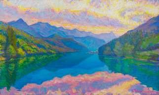Vlad Paduraru: 'Landscape Barcis S1  10', 2017 Oil Painting, Landscape. Artist Description: landscape, lake, barcis , italy, colors, light...