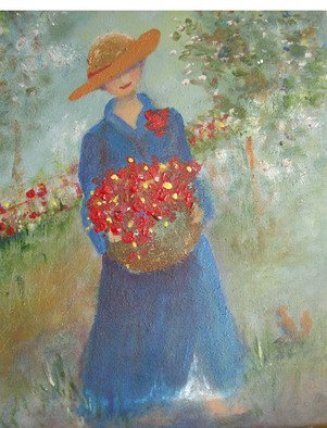 Katharina Eltringham: 'Basket of red flowers', 2012 Mixed Media, Romance.   Acrylic on canvas. A romantic and happy feel with a broad rimmed hatted lady in a vibrant blue dress carrying a basket of red flowers through the garden. There is a delightful surprise sparkle across the flowers ( hard to see in the photograph) in the basket and background that adds...