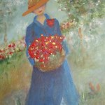 Basket of red flowers By Katharina Eltringham