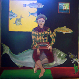 Jorge De La Fuente: 'FANTASY', 1994 Oil Painting, Surrealism. Artist Description:  A Circle: Fish ready to eat butterfly. She is eating from a flower and the arlequin eats the fish. And the only water is on a little painting. Fishes swiming in the air. ...