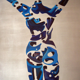 Jorge De La Fuente: 'LIBERTY', 1988 Acrylic Painting, Surrealism. Artist Description:  Neo surrealism segmented figure, with arms up to Liberty.  ...