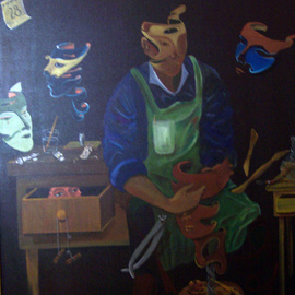 Jorge De La Fuente: 'The Mask Maker', 1990 Acrylic Painting, Surrealism. Artist Description:  A mask man, making masks. All suspended in the air. The Critic, observing from inside a cabinet.  December 28, the day of the inocents in Mexico.     ...